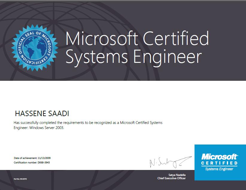 Certification Mcse 2003 Security Hassene Saadi